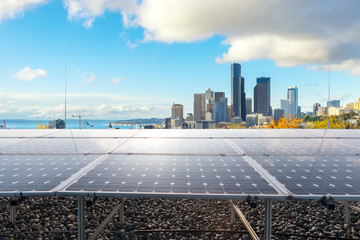 solar panel with cityscape of modern city