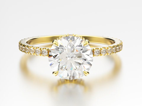 3D illustration yellow gold traditional engagement ring with diamond with reflection