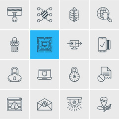 Vector Illustration Of 16 Security Icons. Editable Pack Of Corrupted Mail, Key Collection, Browser Warning And Other Elements.
