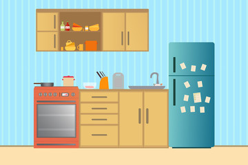 Kitchen with furniture. Cozy kitchen interior with table, stove, cupboard, dishes and fridge. Flat style illustration.