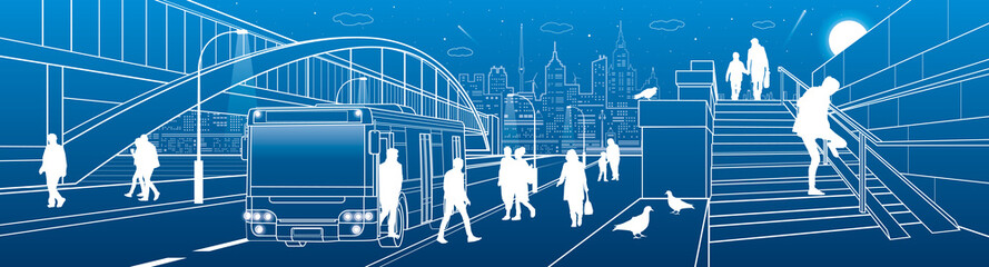 City transport infrastructure panorama. People get off the bus. Pedestrian arch bridge. Modern evening town in background. White lines, night scene. Vector design art