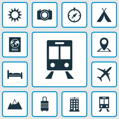 Traveling Icons Set. Collection Of Suitcase, Mount , Land Elements. Also Includes Symbols Such As Kip, Land, Guide.