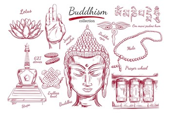 Buddhism collection. Spirituality,Yoga print. Vector hand drawn illustration. Sketch style. Ritual objects with Buddha head