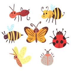 Set of cartoon funny bugs