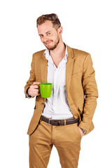 young businessman on white background. human emotion facial expression reaction attitude.
