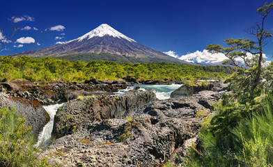 Petrohue Waterfalls in front of Volcano Osorno (Chile) - HDR image