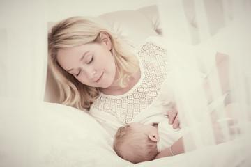 breast feeding. Mother with baby. feeding
