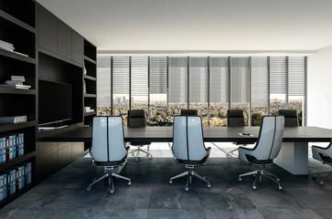 Stylish modern business boardroom interior