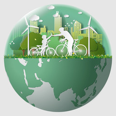 Paper folding art origami style vector illustration Green renewable energy ecology technology power saving environmentally friendly concepts, father son join hands cycling in parks near city in marble