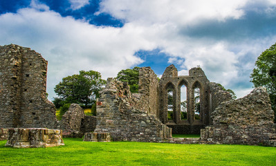 Aluminium Prints Ruins Inch Abbey in Northern Ireland. Monastery ruins in Downpatrick. Co. Down. Travel by car in summer.