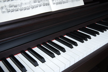 Piano and piano keyboard with sheet music
