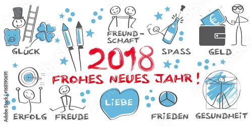 2019 Frohes neues Jahr illustrierte Grußkarte mit Symbolen - gold ...