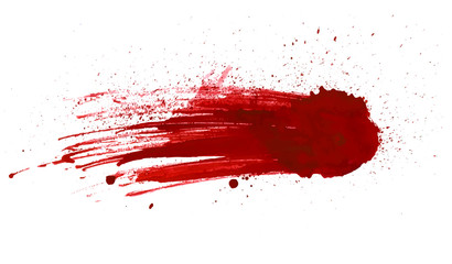 Blood splatter painted vector isolated on white for design. Red dripping blood drop