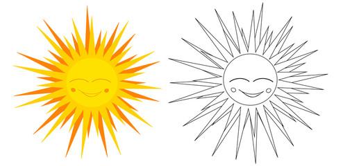 Vector, book coloring sun