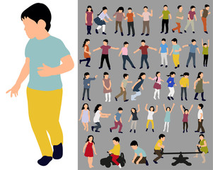 Vector, isolated, collection of children's silhouettes, flat style