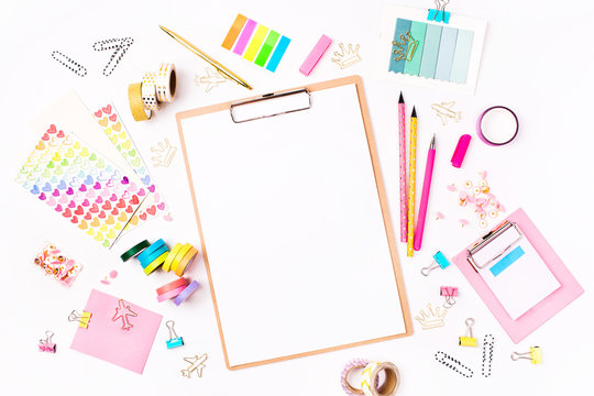 Clipboard mockup and School stationery. Flat lay, top view trendy back to school concept.