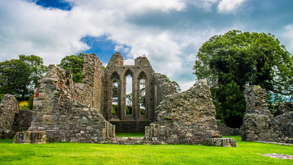 Fotobehang Rudnes Inch Abbey in Northern Ireland. Monastery ruins in Downpatrick. Co. Down. Travel by car in summer.