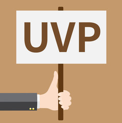 Hand holds UVP sign