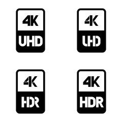 4k Ultra HD vector icon set