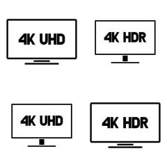 4k Ultra HD TV vector icon set