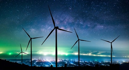 Eco power. Wind turbines generating electricity Wall mural