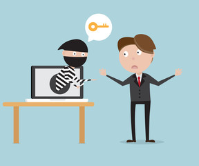 businessman with thief from laptop network security concept