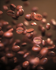 Roasted coffee beans, frozen grain in the air with shallow depth of field.