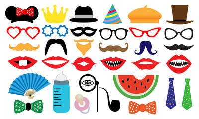 Photo booth accessory collection. Props retro party set.