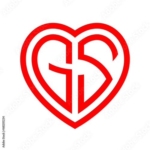 Initial Letters Logo Gs Red Monogram Heart Love Shape Stock Image