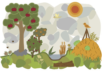 vector flat illustration of a land of permaculture with trees ans bees and vegetable