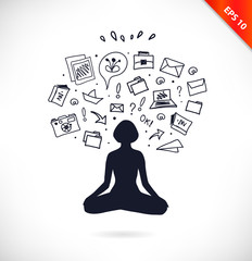 Cloud computing technology abstract sketchy scheme with relax meditate woman. Stress, antistress
