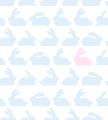 Seamless lovely pattern with rabbits silhouettes. Decorative cute baby background with bunnies, cozy vector texture