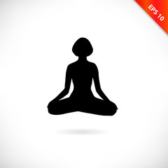 Vector contour of woman in the yoga pose, the Lotus position. Decorative female silhouette. Relax and meditate. Healthy lifestyle illustration