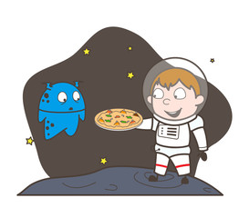 Cartoon Astronaut Presenting a Pizza to Alien Vector Illustration
