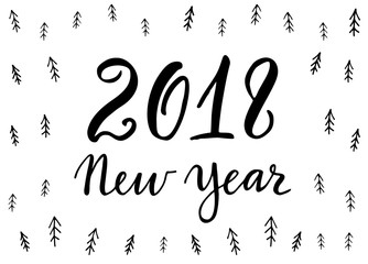 Hand drawn lettering greeting card on a christmas tree pattern with calligraphy 