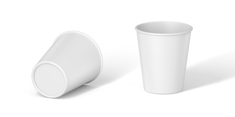White Paper Cup close up. tasty on white table. Exhibition equipment. Set template for the placement of the logo. 3d illustration Part 3.
