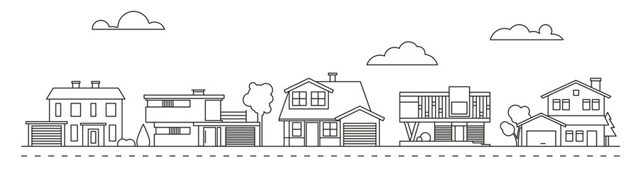 Suburban neighborhood line art with classic, mid-century and contemporary houses vector illustration