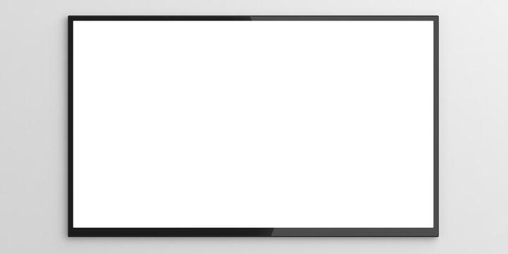 Wall tv on white background. 3d illustration