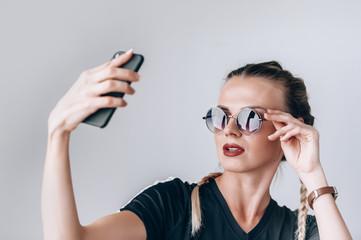 Girl hippy makes selfie