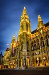 The Wiener Rathaus (Vienna City Hall, Austria) at night