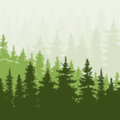 Spruce forest in the hills. Green and beige colors. Vector illustration.