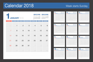 2018 Calendar. Desk Calendar modern design template. Week starts Sunday.