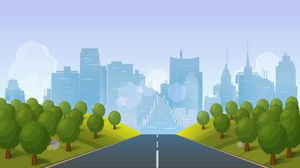 Road to city landscape, Vector illustration