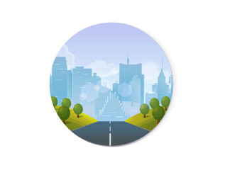 Road through the countryside into the city Vector Illustration for your application
