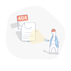 404 Page concept with cute cartoon page and engineer