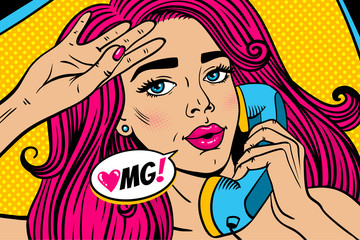Pop art female face. Closeup of sexy young woman with pink hair and open mouth lying in bed and holding old phone handset and OMG! speech bubble. Vector colorful illustration in retro comic style.