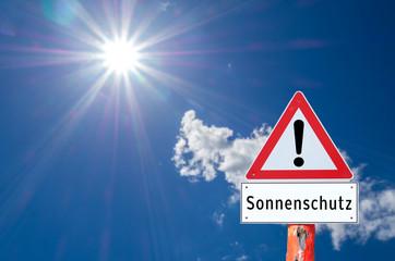 Warnschild Sonnenschutz