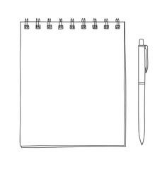 spiral notebook and ballpoint Pen hand drawn vector line art illustration