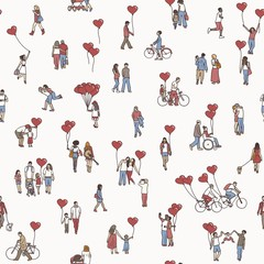 Love is all around - seamless pattern of tiny people holding heart shaped balloons - a diverse collection of small hand drawn men, women and kids