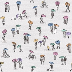Seamless pattern of tiny grey people with colorful umbrellas: pedestrians in the street, a diverse collection of small hand drawn men, women and kids walking through the rain